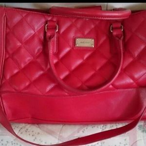NINE WEST LARGE LEATHER RED PURSE $55